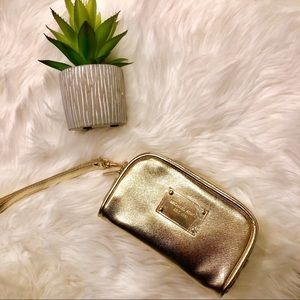 New Michael Kors Small Mini Gold Cosmetic Case Bag
